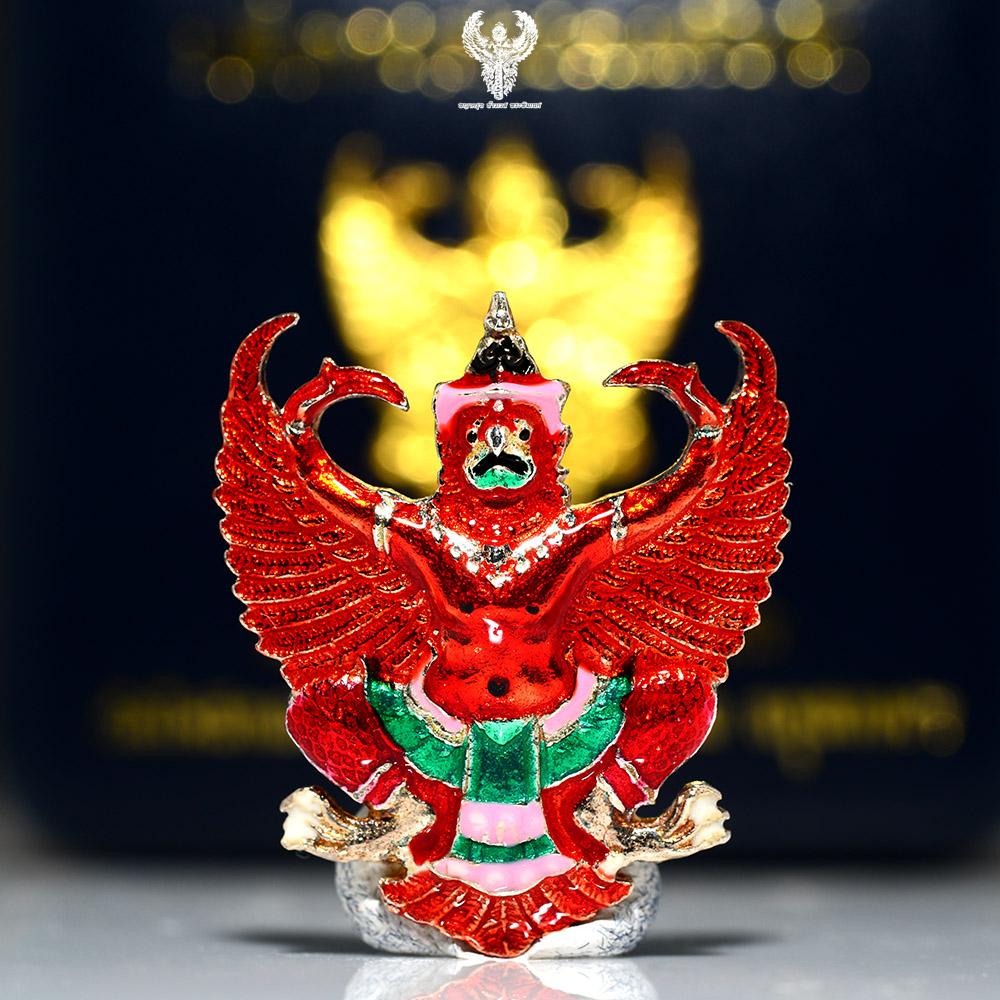 พญาครุฑเลื่อนสมณศักดิ์ หลวงพ่อวราห์ เนื้อเงินลงยาแดง
