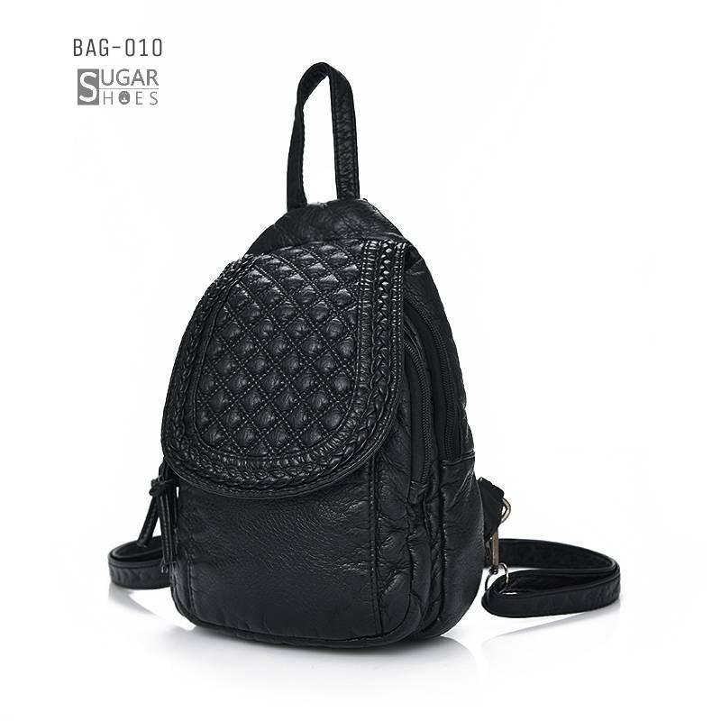 พร้อมส่ง กระเป๋าเป้ผู้หญิงหนังปั๊มลาย-SG-010 [สีดำ]