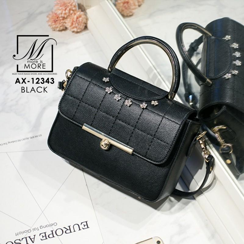 กระเป๋าสะพายกระเป๋าถือ แฟชั่นนำเข้าสไตล์คุณหนู AX-12343-BLK (สีดำ)