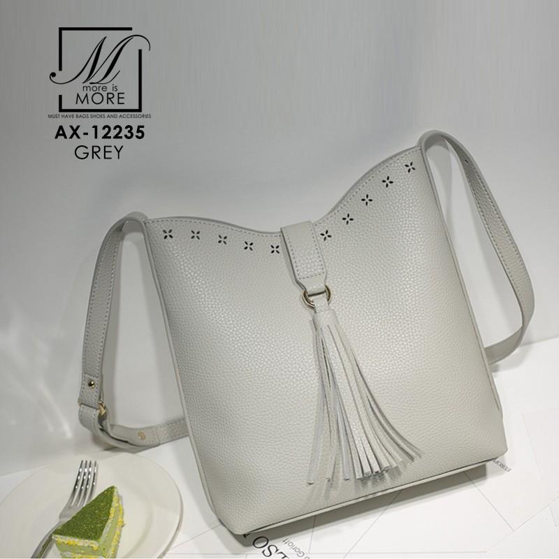 กระเป๋าสะพายกระเป๋าถือ แฟชั่นนำเข้าสไตล์เกาหลี AX-12235-GRY [สีเทา]