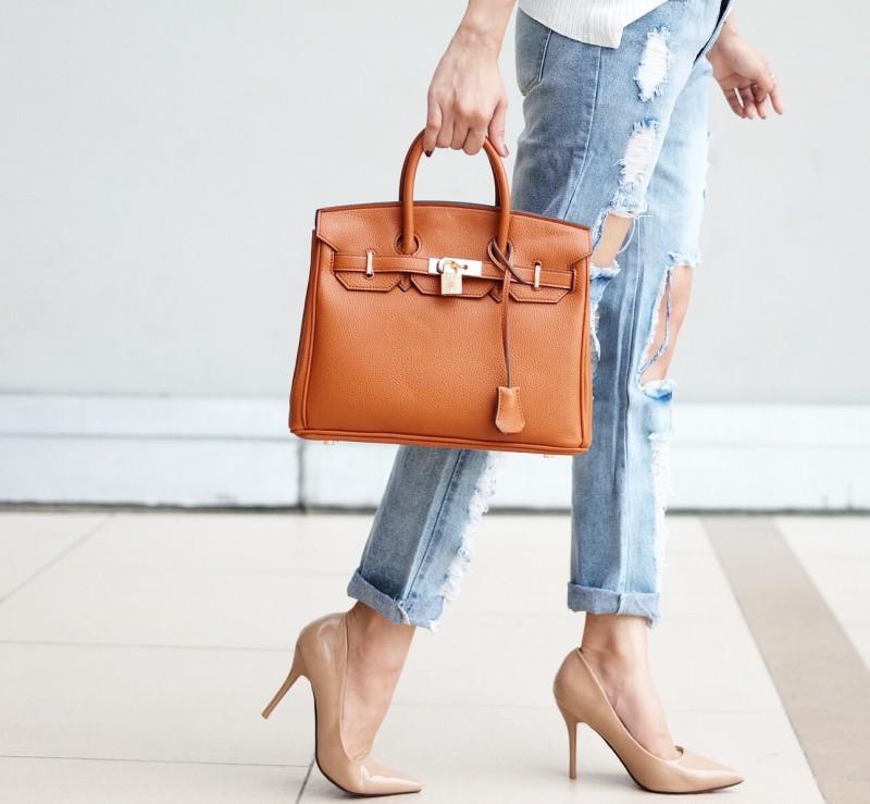 กระเป๋าครัช กระเป๋าถือ Birkin PU [สีส้ม]