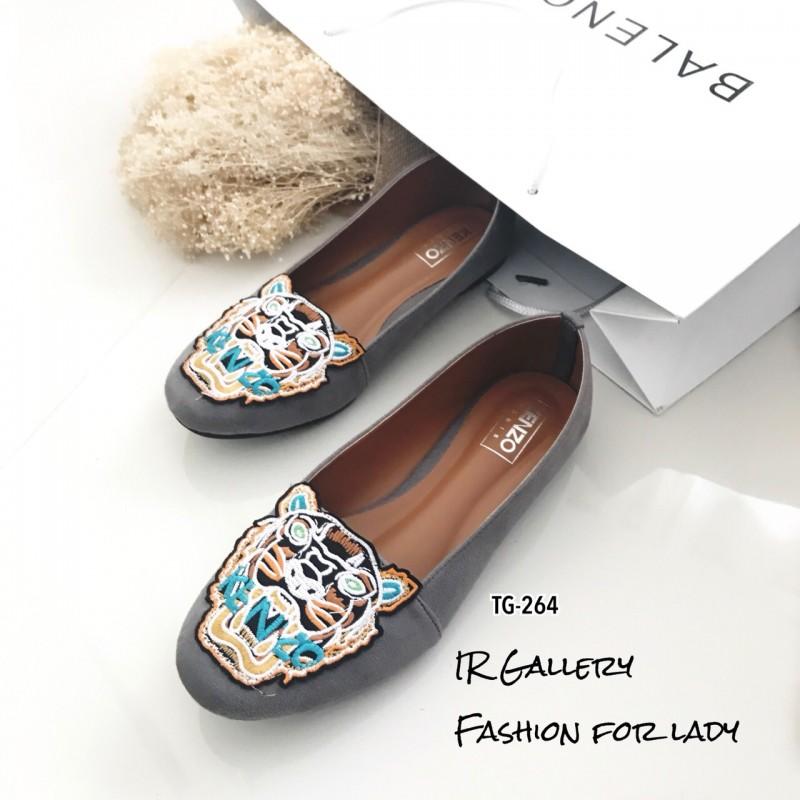 รองเท้าส้นแบนวัสดุหนังกลับ Style Brand Kenzo TG-264-เทา (สีเทา)