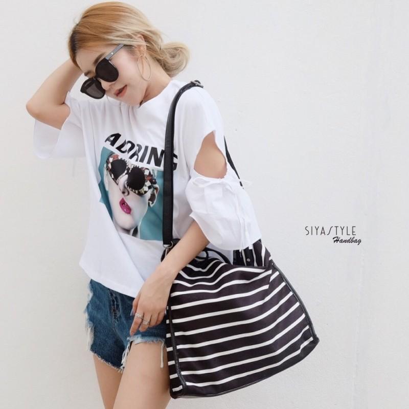 กระเป๋าสะพายแฟชั่น กระเป๋าสะพายข้างผู้หญิง สะพายข้างม้ายลาย [สีดำ]
