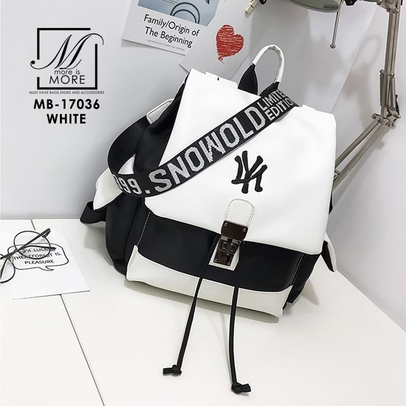 พร้อมส่ง กระเป๋าเป้นำเข้าดีไซน์สุด cool สไตล์แบรนด์ดัง [สีขาว]