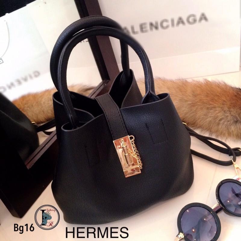 กระเป๋าถือผู้หญิง กระเป๋าสะพายข้างผู้หญิง หนังนิ่มคุณภาพ Style Hermes งานTop Mirror [สีดำ ]