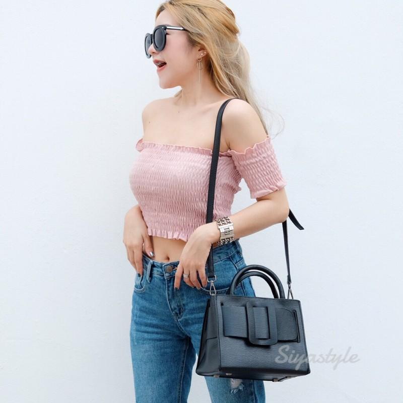 กระเป๋าสะพายแฟชั่น กระเป๋าสะพายข้างผู้หญิง Boyy bag (PU) [สีดำ]