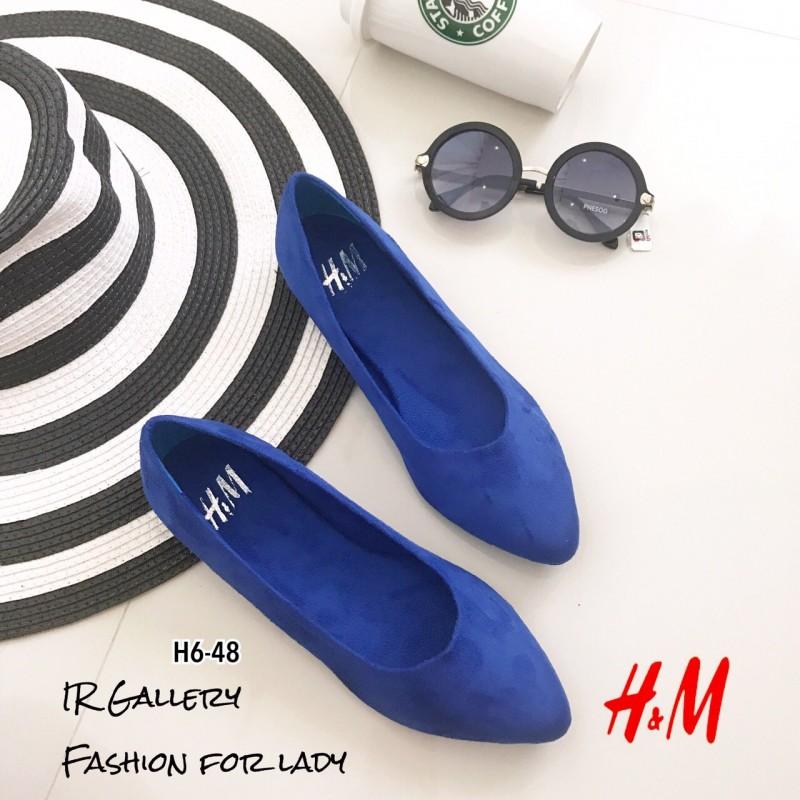 พร้อมส่ง คัชขูส้นแบน HM H6-48 [สีน้ำเงิน]