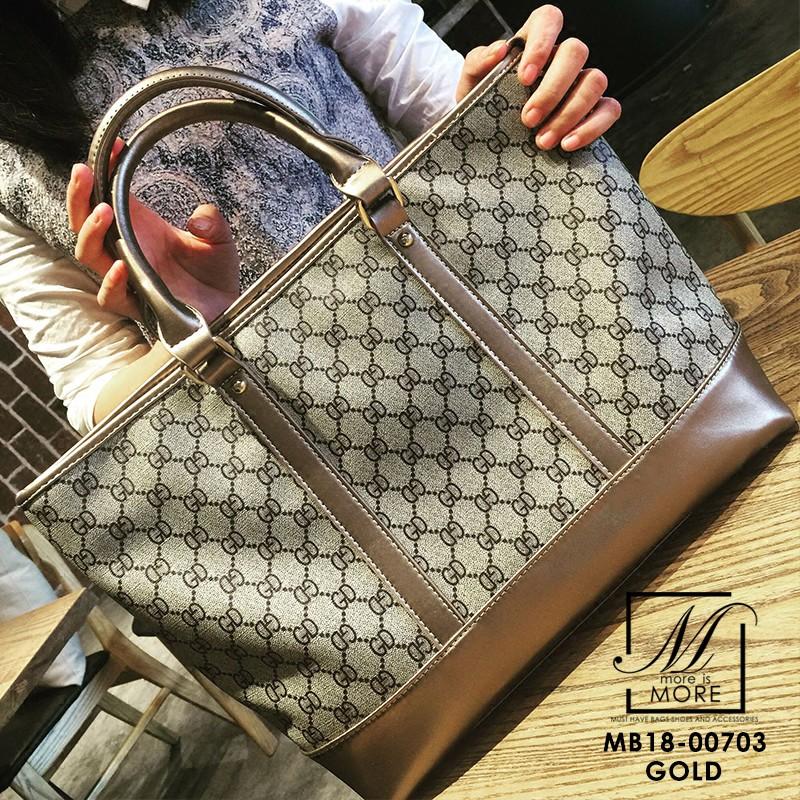กระเป๋าสะพายกระเป๋าถือ แฟชั่นนำเข้าไซส์ใหญ่สไตล์แบรนด์ดัง MB18-00703-GLD (สีทอง)