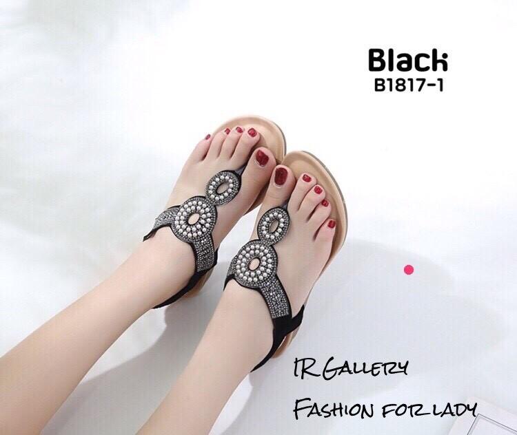 รองเท้าแตะพื้นนิ่มรัดส้นสีดำ B1817-1-ดำ