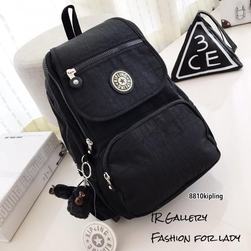 กระเป๋าเป้ผู้หญิง กระเป๋าสะพายหลังแฟชั่น วัสดุผ้าร่มงานคุณภาพนิ่มมาก Style Kipling งานTop Mirror [สีดำ ]