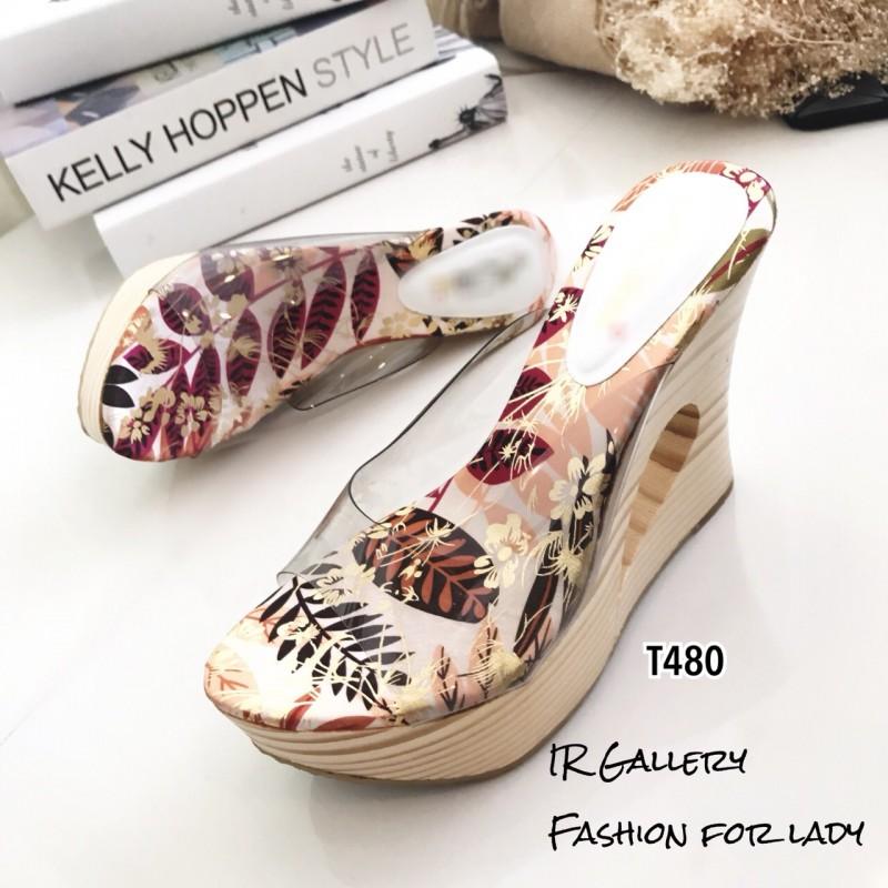 รองเท้าแตะส้นสูงแบบสวม พื้นลาย T480-ขาว (สีขาว)