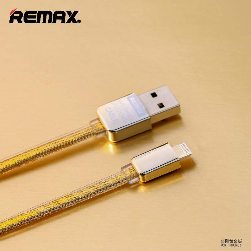 สายชาร์จ iPhone เคเบิลถักยาว100ซม. REMAX แท้ (สีทอง)