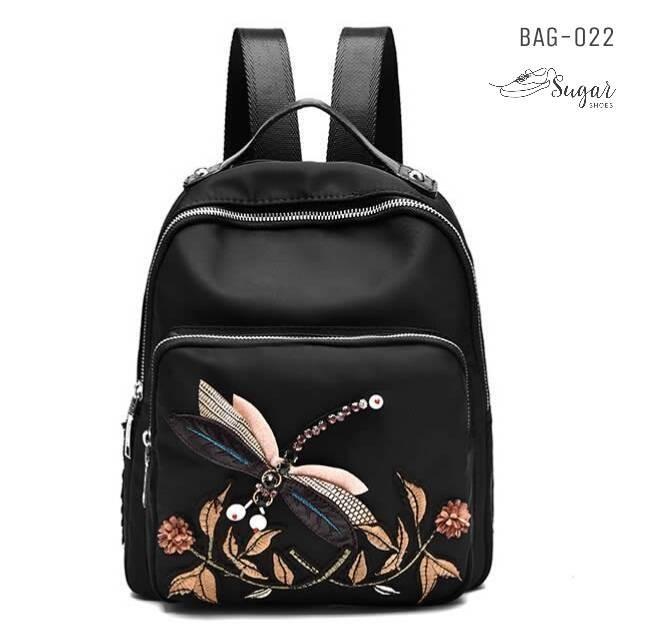 พร้อมส่ง กระเป๋าเป้ผ้าปักลาย-BAG-022 [สีดำ]