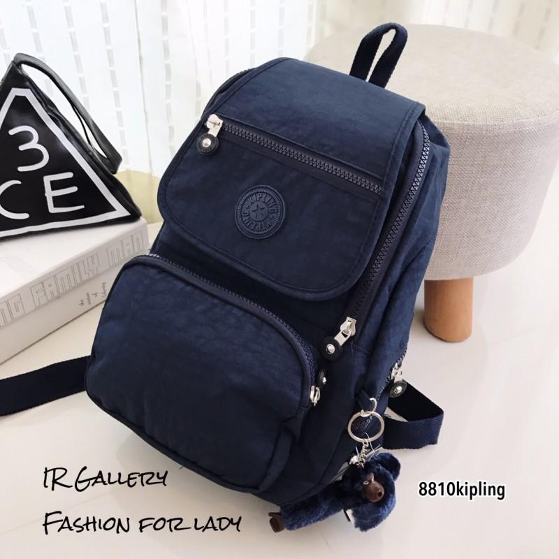 กระเป๋าเป้ผู้หญิง กระเป๋าสะพายหลังแฟชั่น วัสดุผ้าร่มงานคุณภาพนิ่มมาก Style Kipling งานTop Mirror [สีกรม ]