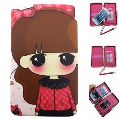 กระเป๋าใส่มือถือสมาร์ทโฟนและของเอนกประสงค์ ลายเด็กผู้หญิง (ขนาด 11x19ซม.)