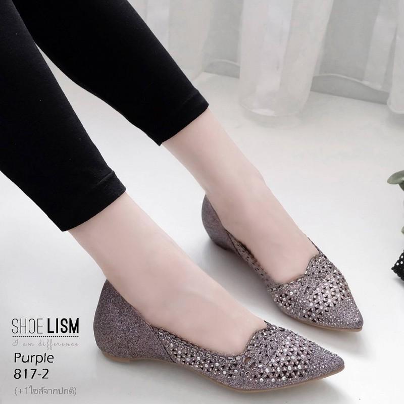รองเท้าคัชชูสีม่วง ลายฉุลดีเทลเล็กๆ หนัง pu LB-817-2-ม่วง