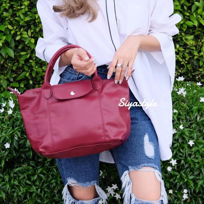 กระเป๋าสะพายแฟชั่น กระเป๋าสะพายข้างผู้หญิง ลองชอมหนัง Style [สีแดง]