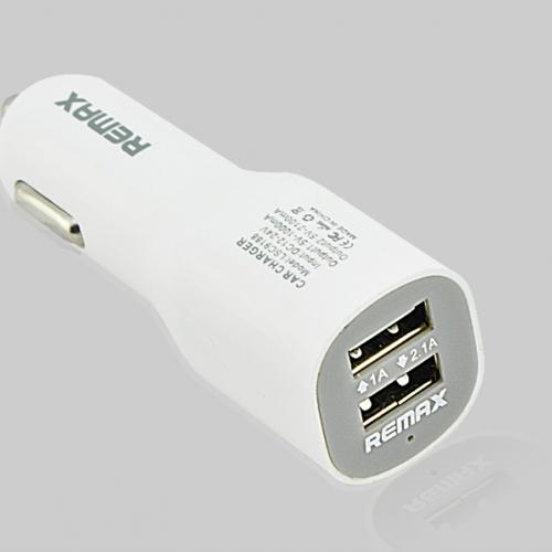 ที่ชาร์จมือถือในรถ USB 2 หัว REMAX ของแท้ (สีขาว)
