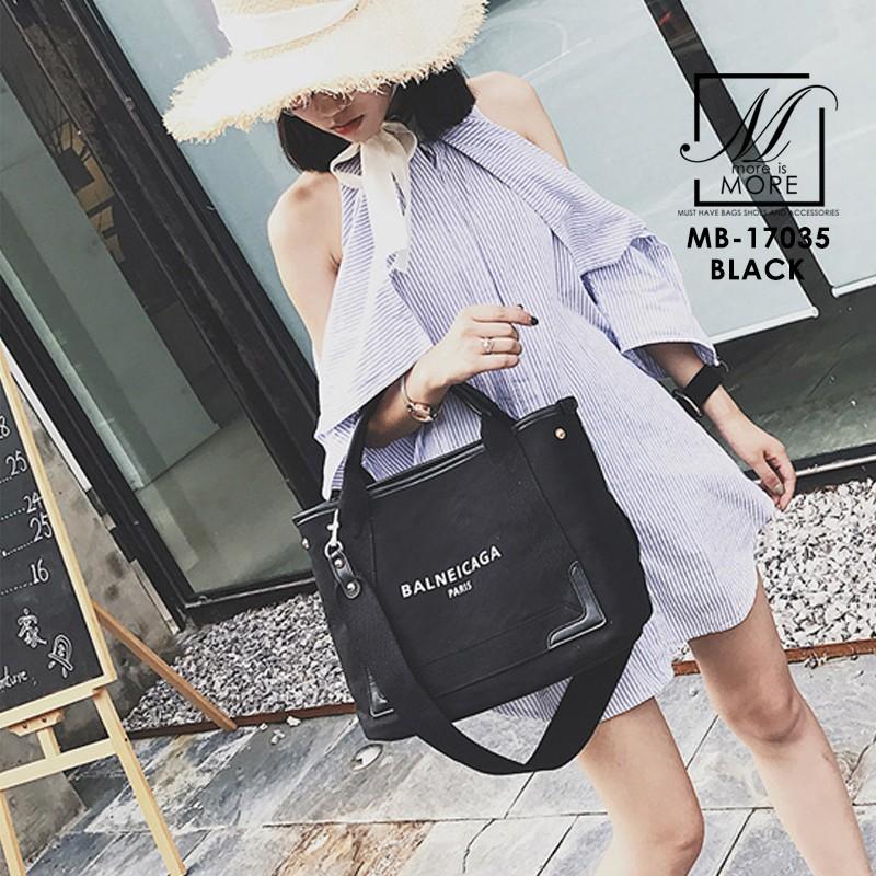 กระเป๋าผ้าแคนวาสนำเข้าดีไซน์สวยสไตล์แบรนด์ดัง MB-17035-BLK (สีดำ)
