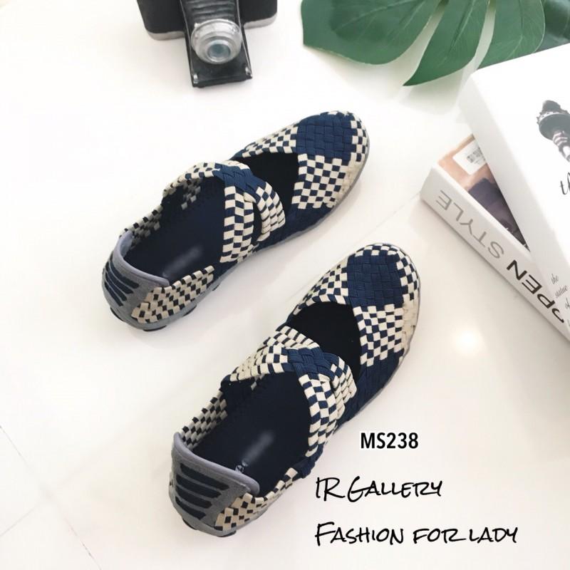 รองเท้าผ้าใบวัสดุผ้ายืดสังเคราะห์สีกรม แต่งสายคาดดีไซน์แบบไขว้ MS238-กรม