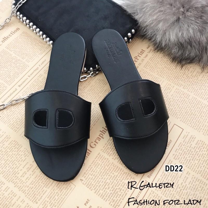รองเท้าแตะหนัง Style Brand Herme DD22-ดำ (สีดำ)