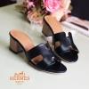 พร้อมส่ง รองเท้าส้นตัน สไตล์สวมลำลอง H22-01B3-BLK [สีดำ]