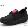 พร้อมส่ง รองเท้าผ้าใบเสริมส้นสีดำ ผ้าทอยืด ดีไซน์แนว sport แฟชั่นเกาหลี [สีดำ ]