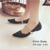 พร้อมส่ง รองเท้าคัทชูส้นเตี้ยหัวแหลมสีดำ ผ้าซาติน งาน miu miu แฟชั่นเกาหลี [สีดำ ]