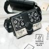 กระเป๋าสะพายกระเป๋าถือ แฟชั่นนำเข้างานปักดอกไม้แบรนด์ axixi แท้ AX-12413-BLK (สีดำ)