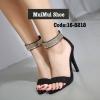 พร้อมส่ง รองเท้าส้นสูงรัดข้อสีดำ เรียบหรูดูแพง สไตล์เกาหลี แฟชั่นเกาหลี [สีดำ ]
