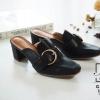 พร้อมส่ง รองเท้าส้นตันสีดำ ทรงหน้าเรียว style แบรนด์ Gucci แฟชั่นเกาหลี [สีดำ ]