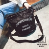 กระเป๋าสะพายกระเป๋าปักเลื่อม แฟชั่นงานนำเข้าทรงกระบอกปักเลื่อมวิ๊บวับ MB18-01205-BLK (สีดำ)