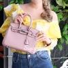 กระเป๋าสะพายแฟชั่น กระเป๋าสะพายข้างผู้หญิง Birkin PU 25 cm [สีชมพู]