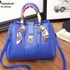 กระเป๋าสะพายแฟชั่น กระเป๋าสะพายข้างผู้หญิง มีผ้าพันคอพันสายกระเป๋า stye Hermes [สีน้ำเงิน ]