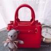 กระเป๋าถือแฟชั่น กระเป๋าสะพายข้างผู้หญิง ถอดสายได้ ห้อยน้องหมีน่าร้าก [สีแดง ]