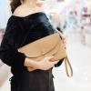 กระเป๋าคลัทช์ กระเป๋าถือผู้หญิง ฝาพับ ด้านในเป็นกำมะหยี่ [สีน้ำตาล ]