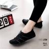รองเท้าผ้าใบยางยืดสีดำ ผ้ายืดเงา เบาสบาย 8271-ดำ