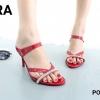 พร้อมส่ง รองเท้าส้นเข็มเปิดส้นสีแดง แต่งหน้าเพชร สไตล์ ZARA แฟชั่นเกาหลี [สีแดง ]