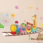 Wall Sticker ลายเด็กและยีราฟนั่งรถไฟ