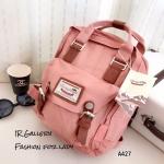 กระเป๋าเป้ผู้หญิง กระเป๋าสะพายหลังแฟชั่น วัสดุผ้าร่มคุณภาพพรีเมี่ยม Style Doughnut Macaroon [สีชมพู ]