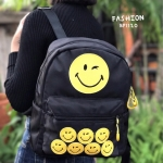กระเป๋าเป้ผู้หญิง กระเป๋าสะพายข้างแฟชั่น HAPPY [สีดำ ]