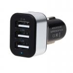 ที่ชาร์จมือถือในรถ 3-Port USB Car Charger (สีดำ-เงิน)