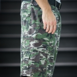 Light Green Camo Cargo Shorts for Men - size 36
