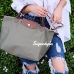 กระเป๋าสะพายแฟชั่น กระเป๋าสะพายข้างผู้หญิง ลองชอมผ้า Style [สีเขียว]
