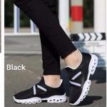 พร้อมส่ง รองเท้าผ้าใบแฟชั่นสีดำ น้ำหนักเบา ทรงสปอร์ต แฟชั่นเกาหลี [สีดำ ]