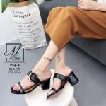 พร้อมส่ง รองเท้าส้นตันเปิดส้นสีดำ สายคาด2ระดับ แต่งเข็มขัดโลหะ แฟชั่นเกาหลี [สีดำ ]