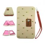 กระเป๋าใส่มือถือ/สตางค์/นามบัตร ขนาด L (สีน้ำตาลอ่อน ด้านในสีชมพู)