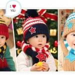 set หมวก+ผ้าพันคอ ลายดาว