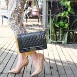 กระเป๋าสะพายแฟชั่น กระเป๋าสะพายข้างผู้หญิง Chanel Boy Caviar 10 [สีดำ ]
