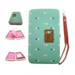 กระเป๋าใส่มือถือ/สตางค์/นามบัตร ขนาด L (สีเขียววินเทจ ด้านในสีชมพู)